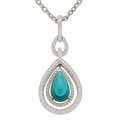 Estate Jewelry:Necklaces, Turquoise, Diamond, White Gold Pendant-Necklace. ...