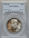 Kennedy Half Dollars, 1964-D 50C MS66 PCGS. PCGS Population: (724/53). NGC Census:(423/14). Mintage 156,205,440. ...
