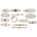 Estate Jewelry:Brooches - Pins, Diamond, Amethyst, Seed Pearl, Glass, Enamel, Gold Brooches. . ...(Total: 13 Items)