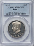 Proof Kennedy Half Dollars, 1981-S 50C Type One PR70 Deep Cameo PCGS. PCGS Population: (487).NGC Census: (135)....
