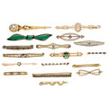 Estate Jewelry:Brooches - Pins, Diamond, Multi-Stone, Seed Pearl, Glass, Enamel, Gold, Yellow Metal Brooches. . ... (Total: 17 Items)
