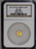 California Fractional Gold: , 1871 25C Liberty Octagonal 25 Cents, BG-768, R.4, MS64 NGC. PCGSPopulation (2/0). (#10595)...