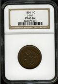 Patterns: , 1854 P1C One Cent, Judd-161 Original, Pollock-187, R.4, PR65 BrownNGC. NGC Census: (2/1). PCGS Population (10/3). (#11663...