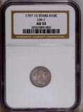 Early Half Dimes: , 1797 H10C 15 Stars AU53 NGC. LM-1. NGC Census: (6/69). PCGSPopulation (2/41).Mintage: 44,527. Numismedia Wsl. Price: $5,12...