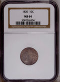 Bust Dimes: , 1820 10C Small 0 MS64 NGC. PCGS Population (1/0). Numismedia Wsl.Price: $3,600. (#4493)...