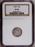 Bust Dimes: , 1835 10C VF30 NGC. NGC Census: (8/350). PCGS Population(6/289).Mintage: 1,410,000. Numismedia Wsl. Price: $100. (#4527)...