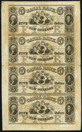 Obsoletes By State:Louisiana, New Orleans, LA - Canal Bank $5-$5-$5-$5 18__ Uncut Sheet. ...