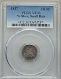 Seated Half Dimes, 1837 H10C No Stars, Small Date (Flat Top 1) VF30 PCGS. PCGS Population: (16/378). ...