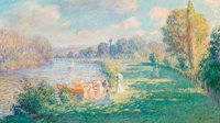 Henri Baptiste Lebasque (French, 1865-1937) Sur les bords de la Marne, 1901 Oil on canvas 23-1/4