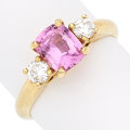 Estate Jewelry:Rings, Pink Sapphire, Diamond, Gold Ring. . ...