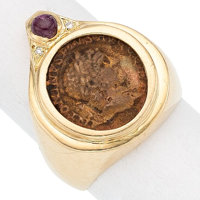 Ancient Coin, Ruby, Gold Ring