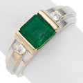Estate Jewelry:Rings, Emerald, Diamond, White Gold Ring. . ...