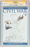 Modern Age (1980-Present):Superhero, Civil War #4 Sketch Cover - Signature Series (Marvel, 2006) CGC NM9.4 White pages....