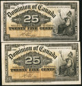 Canadian Currency: , DC-15b 25 Cents 1900 Two Examples. ... (Total: 2 notes)
