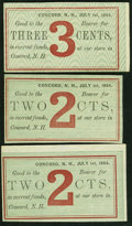 Obsoletes By State:New Hampshire, Concord, NH- Unknown Issuer 2¢(2); 3¢ July 1, 1864 Remainders. ... (Total: 3 notes)