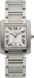 Timepieces:Wristwatch, Cartier Gent's Tank Francaise Steel Automatic. ...