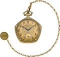 Timepieces:Pocket (post 1900), Gruen 14k Gold Pentagon Verithin With Gold Chain. ...