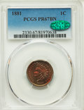 Proof Indian Cents, 1881 1C PR67 Brown PCGS. CAC....