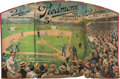 Baseball Collectibles:Others, Circa 1910 Piedmont Cigarettes Oversized Tri-Fold AdvertisingSign....