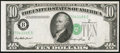 Error Notes:Shifted Third Printing, Fr. 2011-B $10 1950A Federal Reserve Note. About Uncirculated.. ...