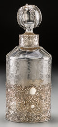 Silver Holloware, Continental, A German Silver and Acid-Etched Glass Decanter, early 20th century.Marks: (cinquefoil-crowned eagle-star), 5157. 8-1/2 inch...