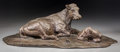 Fine Art - Sculpture, European:Modern (1900 - 1949), Una Hanbury (Mexican/British, 20th Century). Cow and Calf.Bronze with brown patina. 7 inches (17.8 cm) high. Inscribed ...