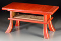 Asian:Japanese, A Japanese Red Lacquered Two-Tier Low Table. 12 h x 24 w x 12 dinches (30.5 x 61.0 x 30.5 cm). PROPERTY FROM THE ESTATE O...