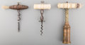 Decorative Arts, British, A Group of Three English Bone, Metal and Wood Corkscrews, 19thcentury. 7-1/2 inches high (19.1 cm) (largest). ... (Total: 3Items)