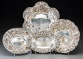 Silver & Vertu:Hollowware, Four American Silver Bowls with Repoussé Rims, 20th century. Marks: (various). 8-3/4 inches diameter (22.2 cm) (largest). 19... (Total: 4 Items)