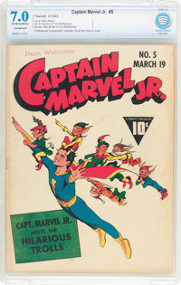 Captain Marvel Jr. #5 (Fawcett Publications, 1943) CBCS Conserved FN/VF 7.0 Off-white to white pages