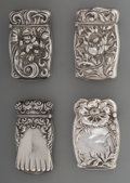 Silver Smalls:Match Safes, Four American Silver Floral Match Safes, circa 1910. Marks:STERLING. 2-3/4 inches high (7.0 cm). 2.36 troy ounces. ...(Total: 4 Items)