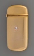 Silver Smalls:Match Safes, An American 14K Gold and Diamond Match Safe, circa 1900. Marks:PATENT. 2-3/8 inches high (6.0 cm). 0.54 troy ounce. ...