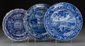 Ceramics & Porcelain, Three Joseph Stubbs Transferware and Lead Glazed Earthenware Plates with American Scenes, Staffordshire, England, late 18th ... (Total: 3 Items)