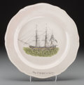 Ceramics & Porcelain, An English Transfer-Printed Earthenware Plate: Ship America Salem, early 19th century. 9-3/4 inches diameter (24...