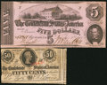 Confederate Notes:1862 Issues, T53 $5 1862;. T63 50 Cents 1863.. ... (Total: 2 notes)