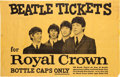 Music Memorabilia:Posters, The Beatles Seattle Civic Center Royal Crown Promotional Poster(1964). Very Rare....
