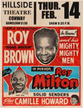 Music Memorabilia:Posters, Roy Brown/Roy Milton Hillside Theatre Concert Poster (1952).Extremely Rare....