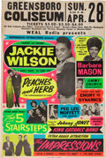 Music Memorabilia:Posters, Jackie Wilson/The Impressions Greensboro Coliseum Concert Poster (Supersonic Attractions Presents,1968). Extremely Rare....