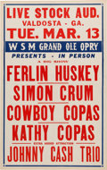 Music Memorabilia:Posters, Johnny Cash - Earliest Known Concert Poster (WSM Grand Ole OpryPresents, 1956). Extremely Rare....