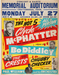 Music Memorabilia:Posters, Clyde McPhatter/Bo Diddley Memorial Auditorium Concert Poster (GACSuper Productions,1959). Extremely Rare....