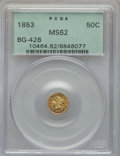 California Fractional Gold , 1853 50C Liberty Round 50 Cents, BG-428, R.3, MS62 PCGS. PCGSPopulation: (86/36). NGC Census: (27/15). ...