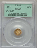 California Fractional Gold , 1881 50C Indian Round 50 Cents, BG-1070, R.5, MS63 PCGS. PCGSPopulation: (10/10). NGC Census: (1/5). ...