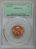 Lincoln Cents, 1973-S 1C MS66+ Red PCGS. PCGS Population: (203/14 and 10/0+). NGC Census: (208/1 and 0/0+). CDN: $26 Whsle. Bid for proble...