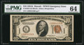 Small Size:World War II Emergency Notes, Fr. 2303 $10 1934A Hawaii Federal Reserve Note. PMG Choice Uncirculated 64.. ...