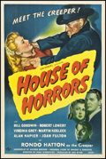 "Movie Posters:Horror, House of Horrors (Universal, 1946). One Sheet (27"" X 41""). Horror....."