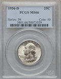 Washington Quarters, 1936-D 25C MS66 PCGS....
