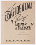 Golden Age (1938-1955):Religious, Labor Is A Partner Confidential Preview File Copy (CatecheticalGuild, 1949) Condition: VG/FN....