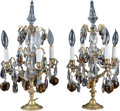 Decorative Arts, Continental:Lamps & Lighting, A Pair of Louis XV-Style Gilt Metal and Glass Girandoles, 20thcentury. 19-1/2 inches high x 10 inches wide (49.5 x 25.4 cm)...(Total: 2 Items)