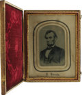 "Photography:Tintypes, Large Abraham Lincoln Tintype Photo in Original Matte and Case This""5 Dollar Bill"" pose represents one of the last and most..."