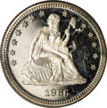 Early Proof Sets: , 1866 25C Motto Quarter PR64 PCGS. The white-on-black contrast isobvious, but the older generation green label holder lacks...